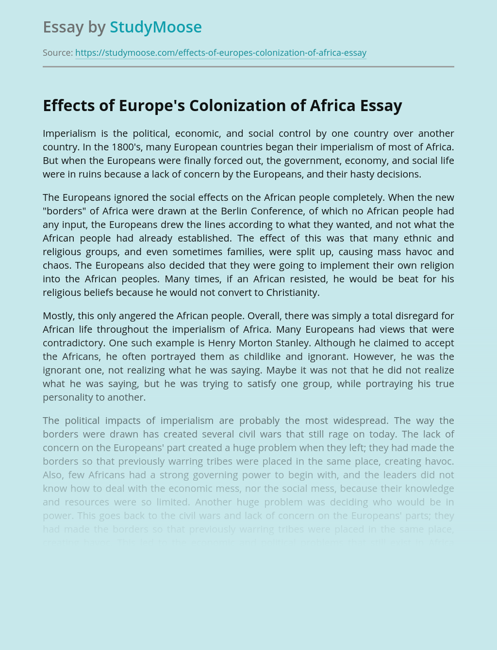 Effects of Europe's Colonization of Africa