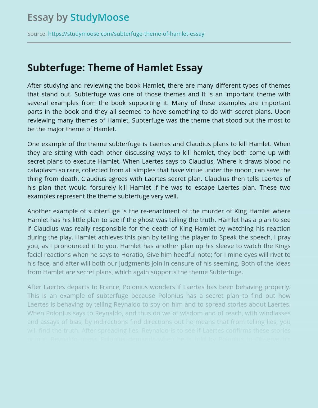 Subterfuge: Theme of Hamlet