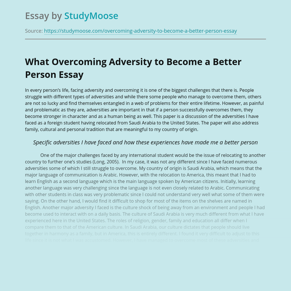 What Overcoming Adversity to Become a Better Person