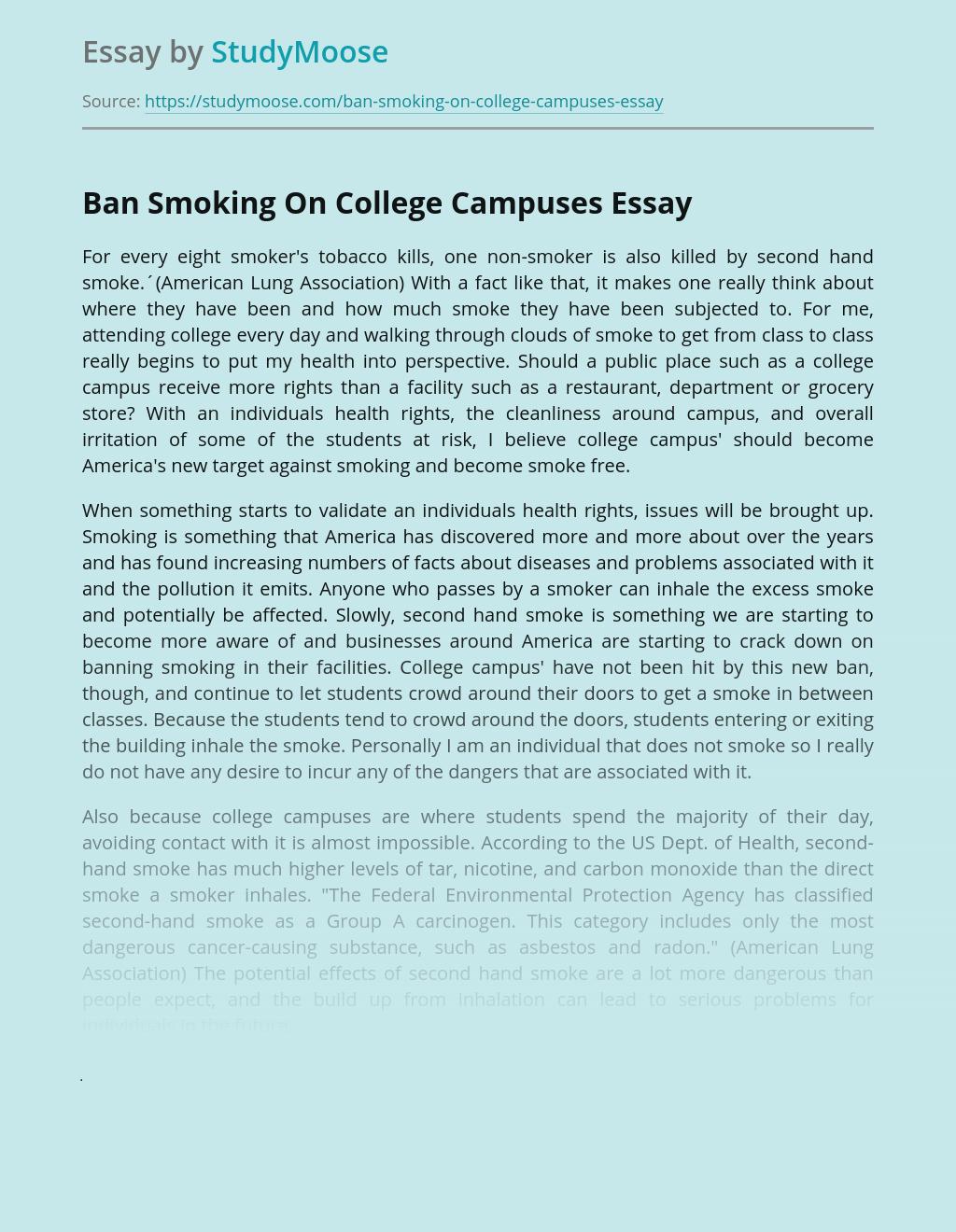 Ban Smoking On College Campuses