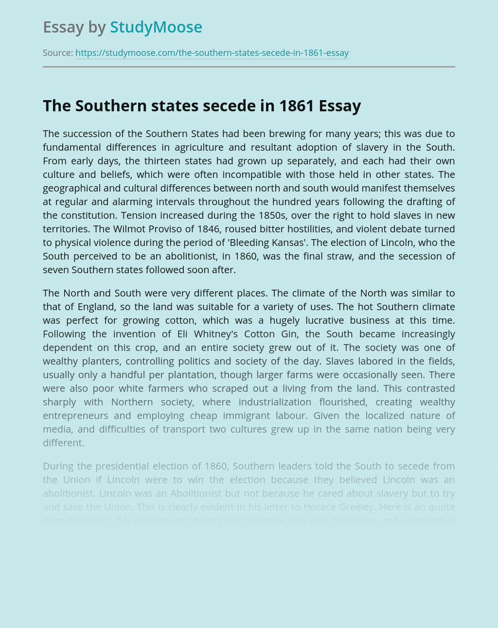 The Southern states secede in 1861