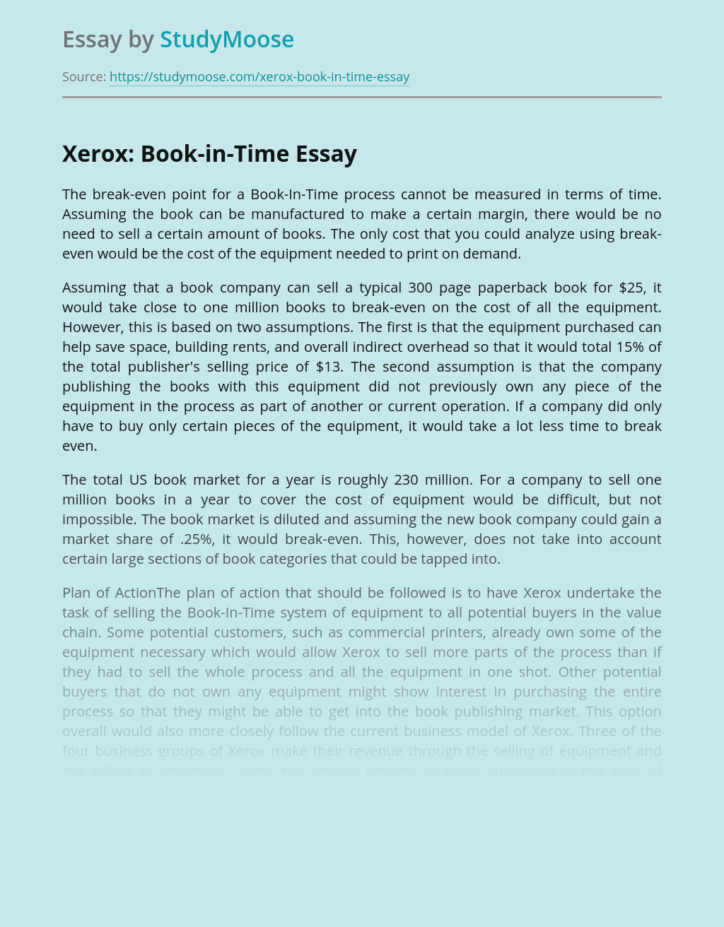 Xerox: Book-in-Time Company Risk Management Plan