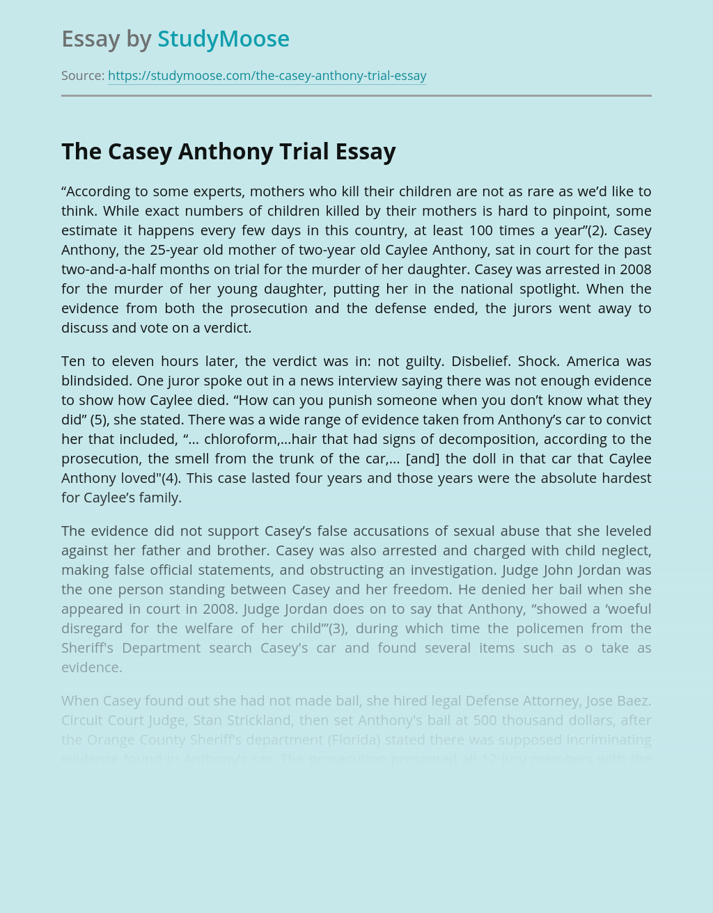 Judiciary in The Casey Anthony Trial Case
