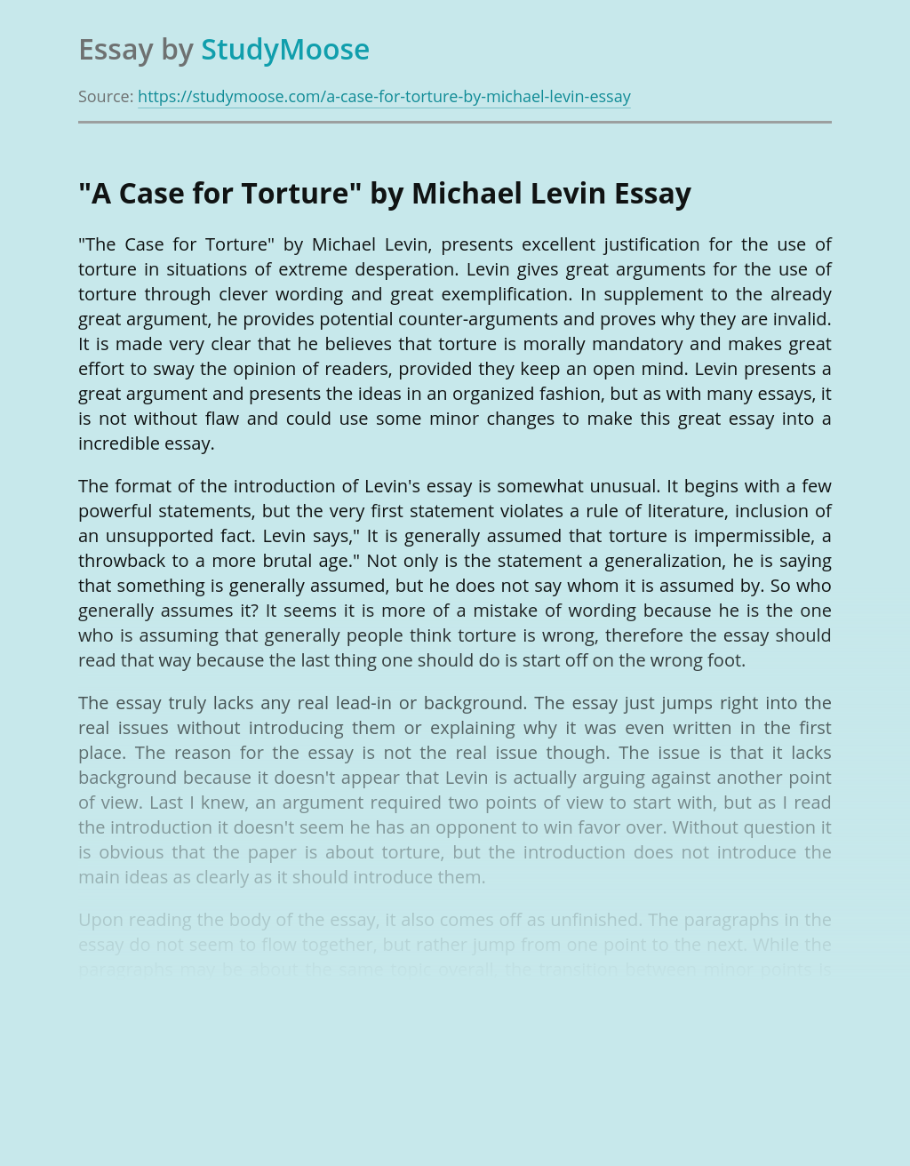 """A Case for Torture"" by Michael Levin"