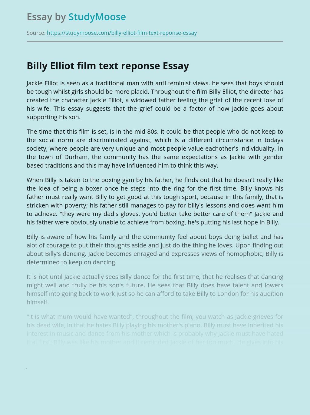 Billy Elliot film text reponse
