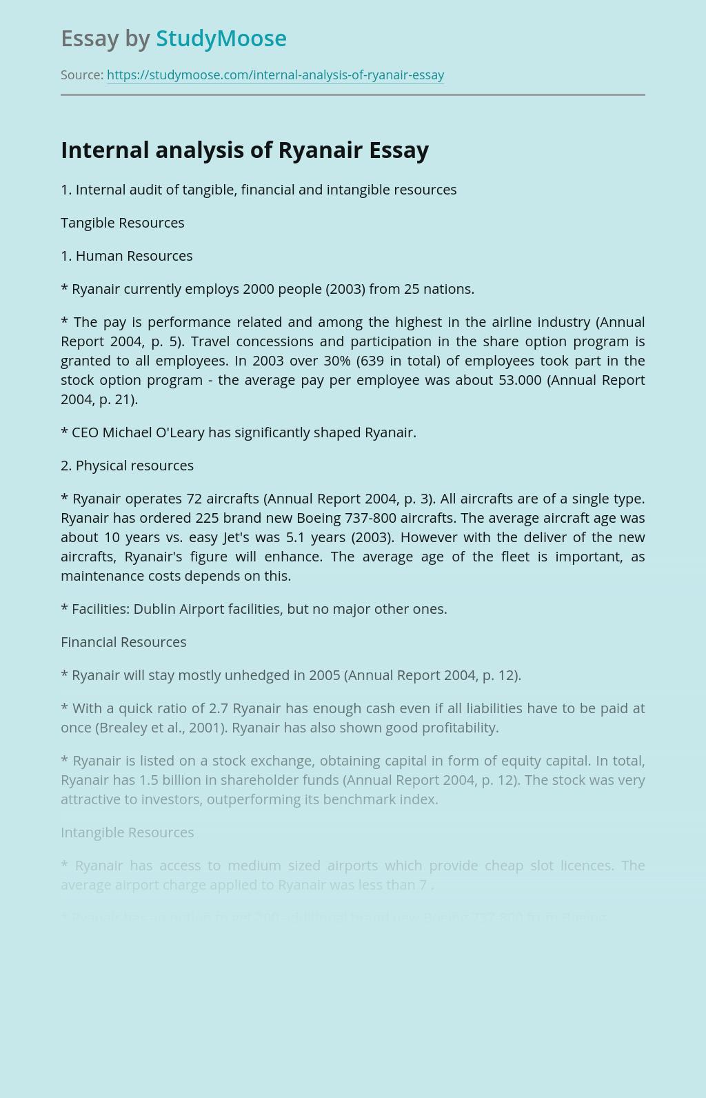 Internal Analysis of Ryanair Company