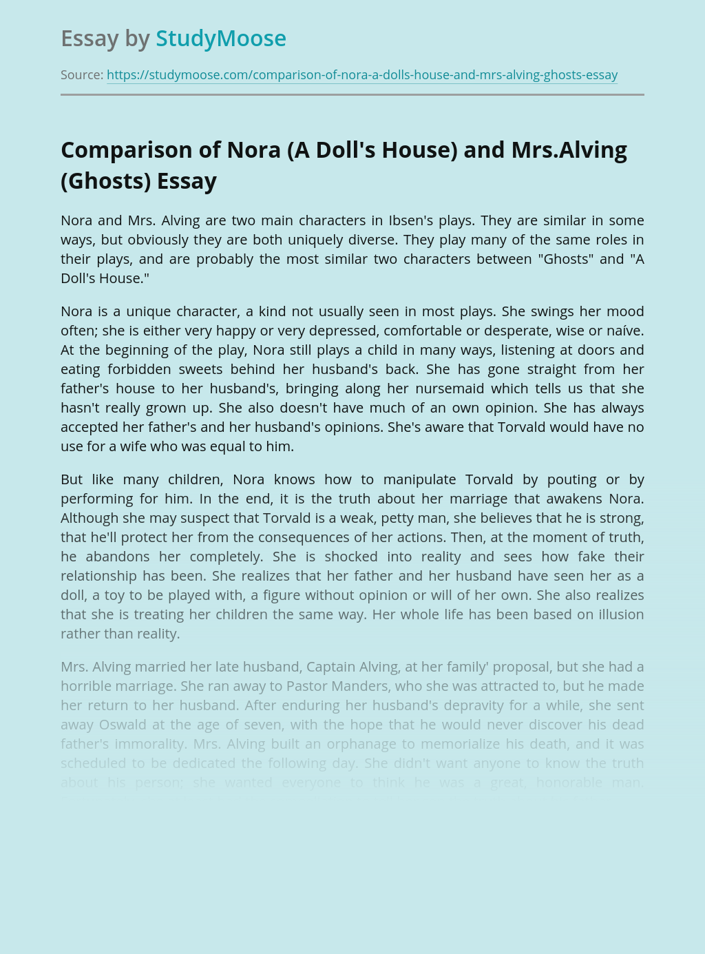 Comparison of Nora (A Doll's House) and Mrs.Alving (Ghosts)
