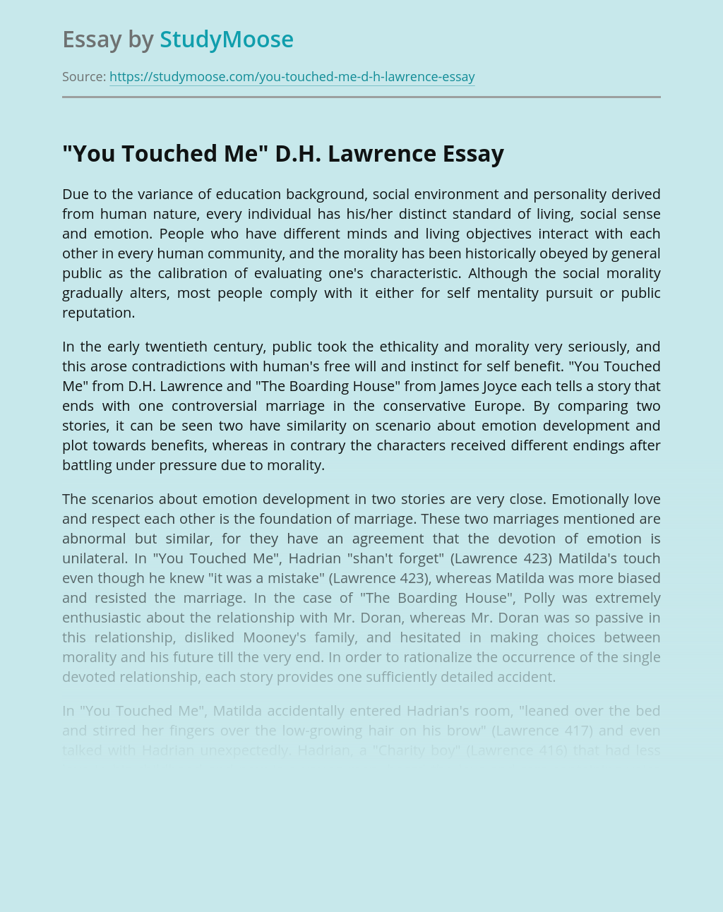 """""""You Touched Me"""" D.H. Lawrence"""