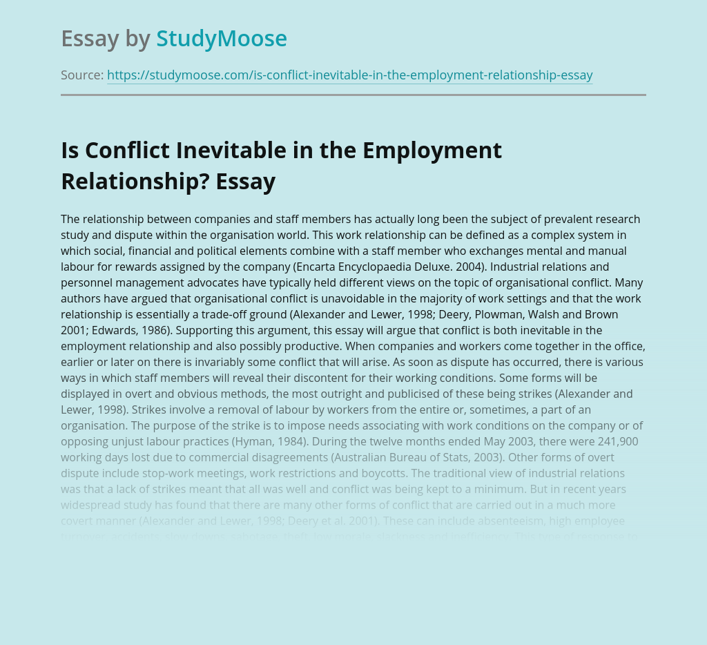 Is Conflict Inevitable in the Employment Relationship?