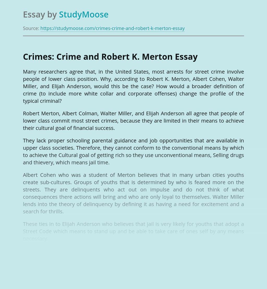 Crimes: Crime and Robert K. Merton