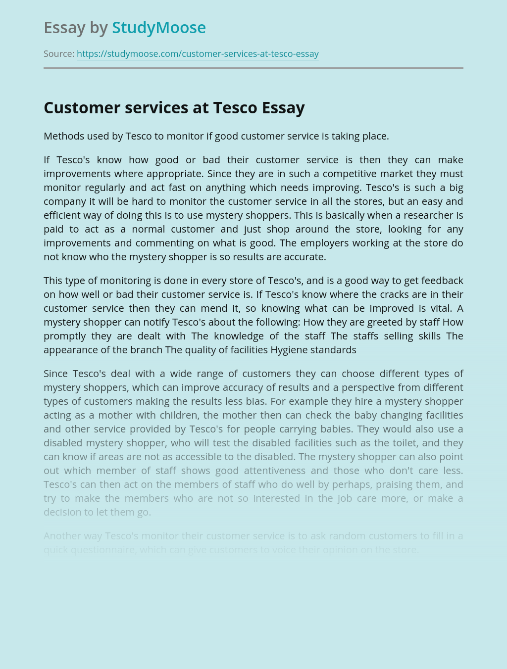 Customer services at Tesco