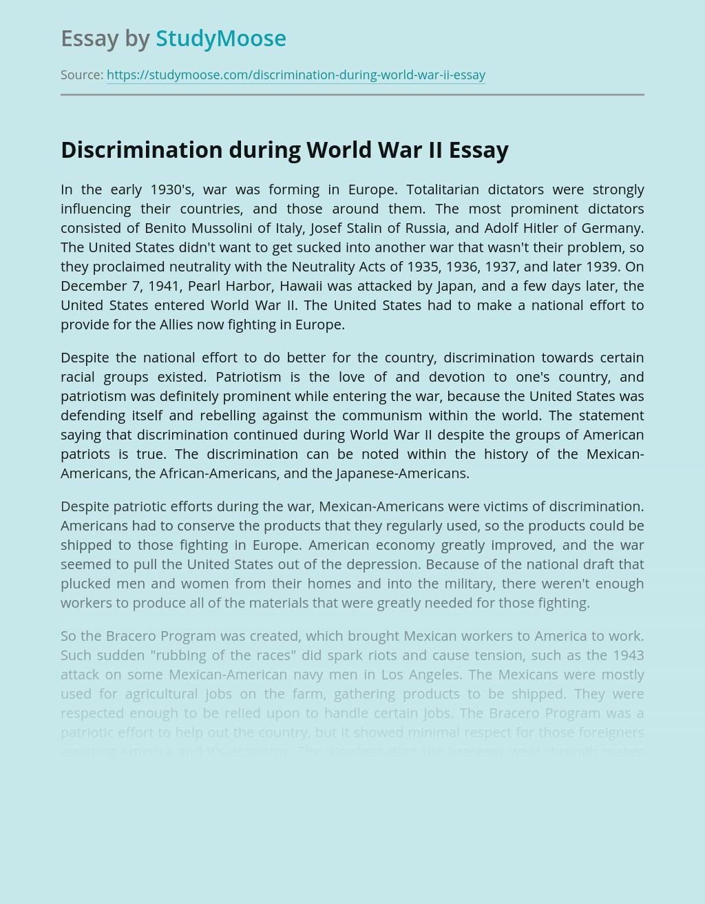 Discrimination during World War II