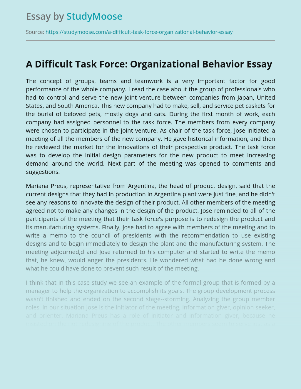 A Difficult Task Force: Organizational Behavior