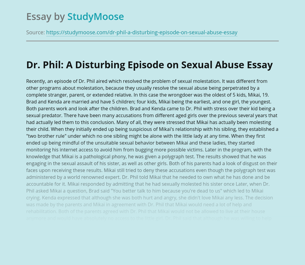 Dr. Phil: A Disturbing Episode on Sexual Abuse