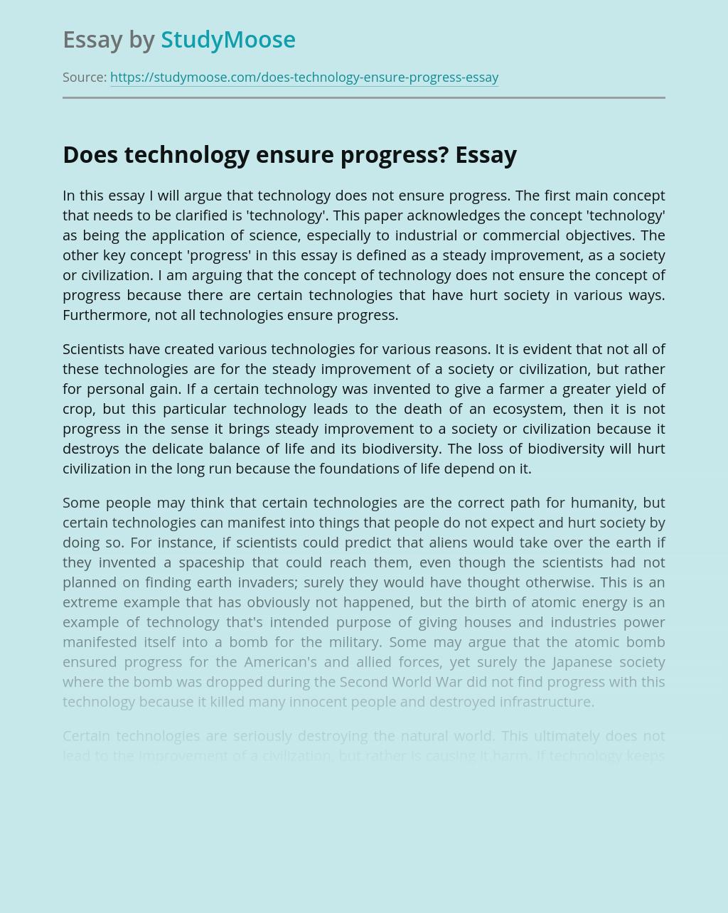 Does technology ensure progress?