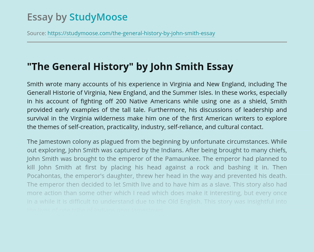 """The General History"" by John Smith"