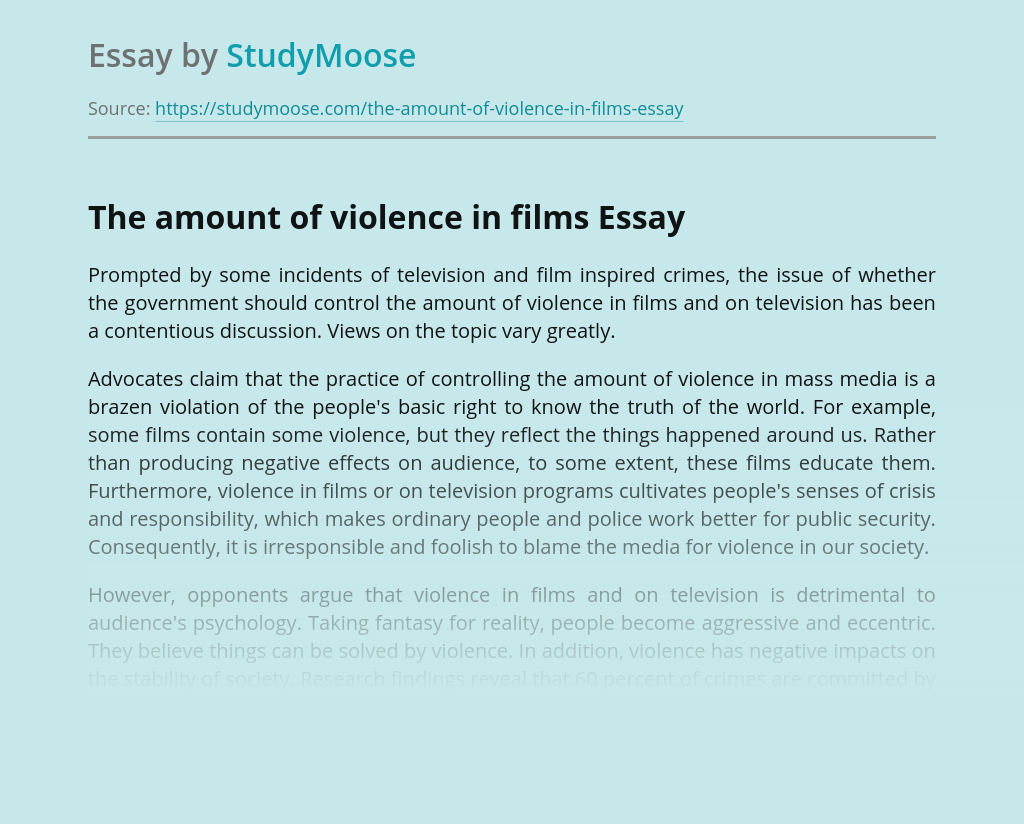 Violence in movie essay popular definition essay editing sites gb