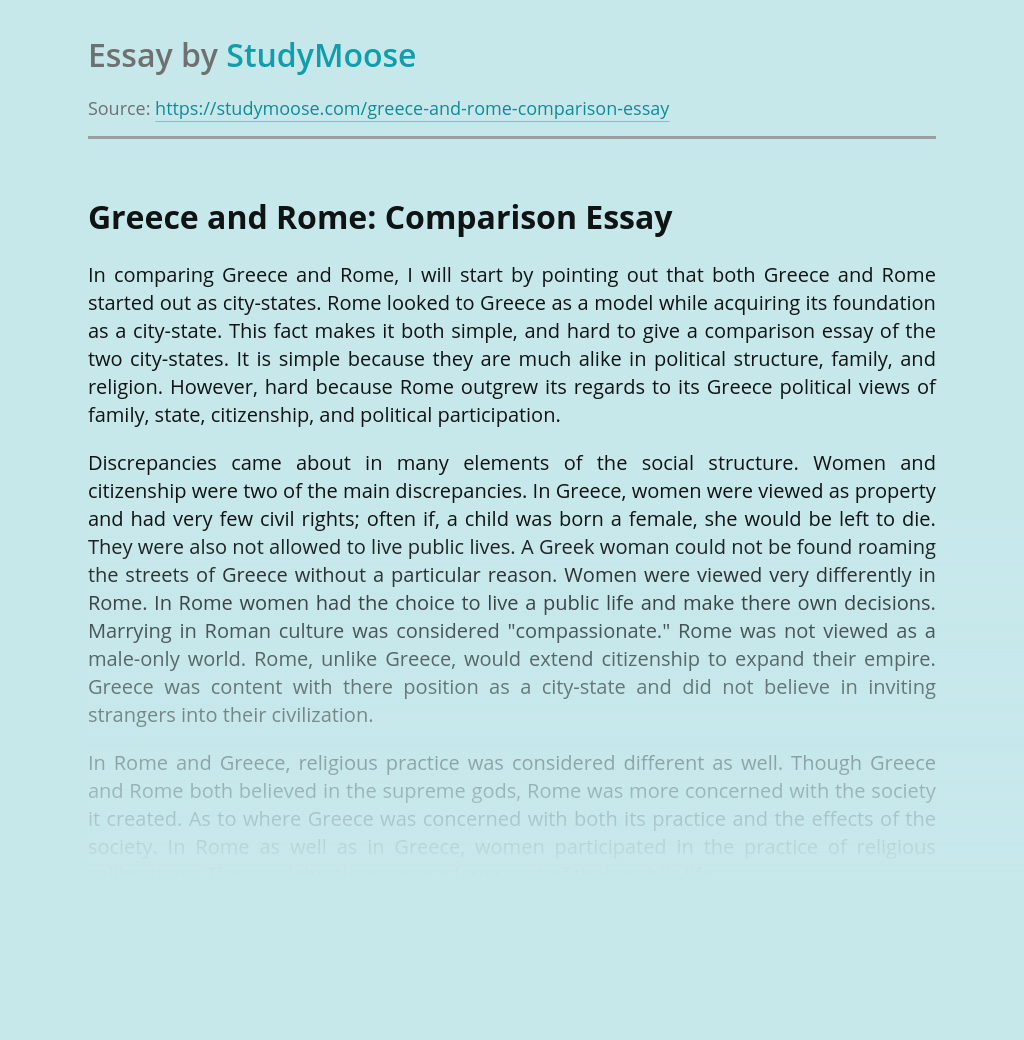 Greece and Rome: Comparison