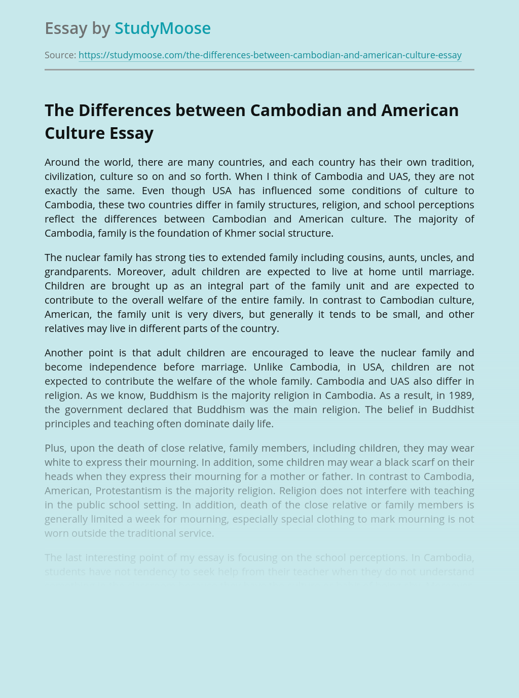 The Differences between Cambodian and American Culture