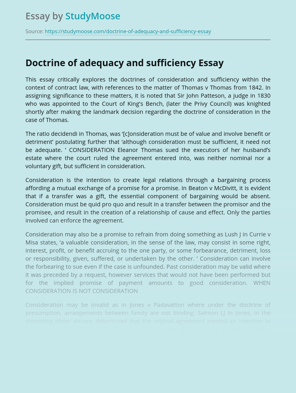 Doctrines Of Consideration And Sufficiency