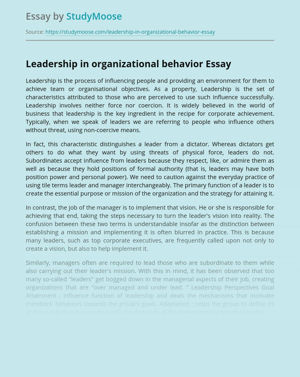 Leadership in organizational behavior