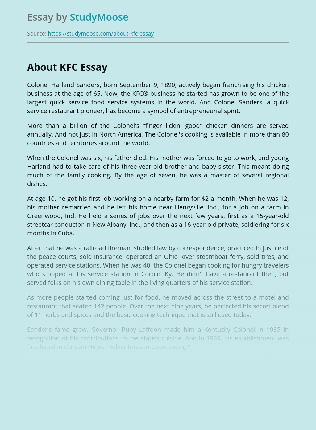 KFC and Its History of Success