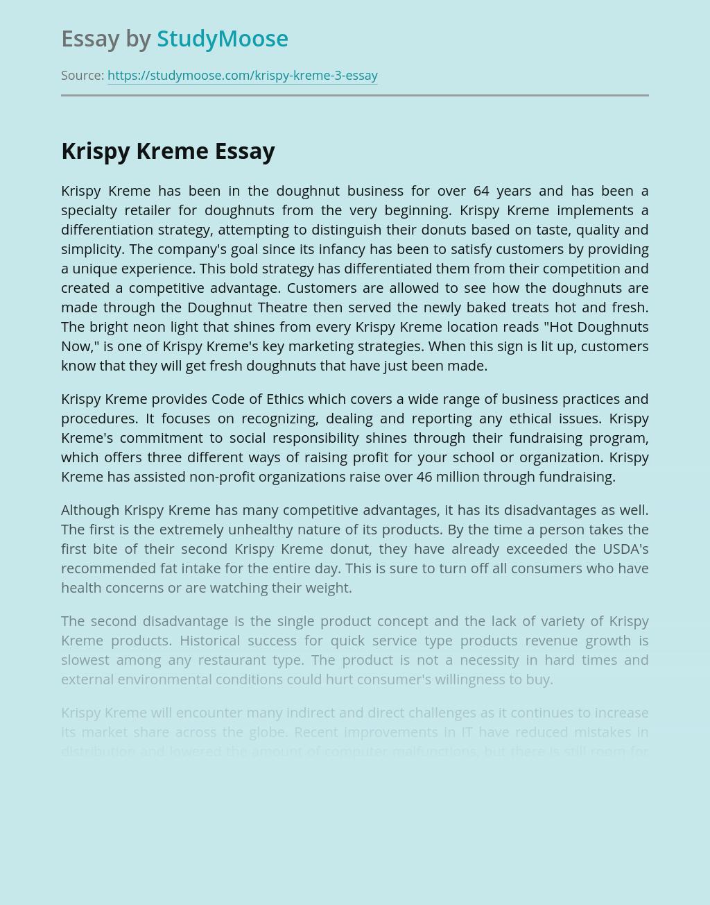 Krispy Kreme in Doughnut Business