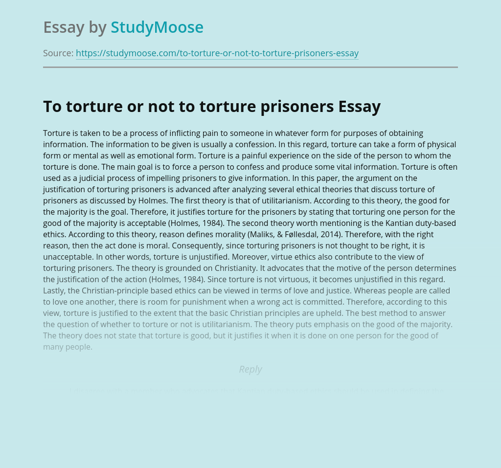 To torture or not to torture prisoners