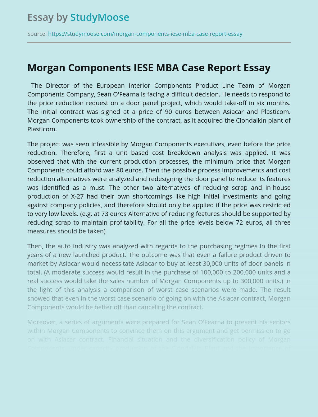 Morgan Components Company's Case