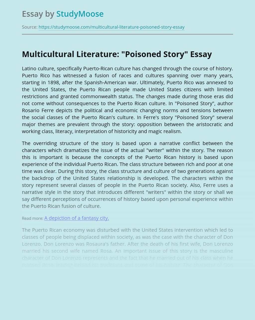 "Multicultural Literature: ""Poisoned Story"""