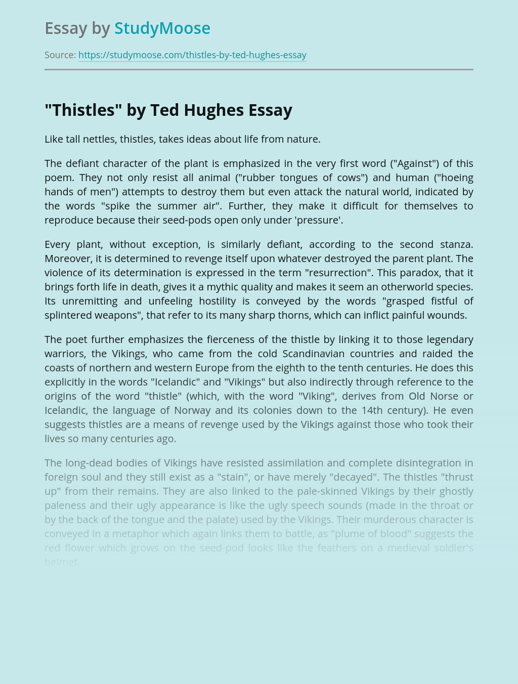 A Poem Thistles by Ted Hughes