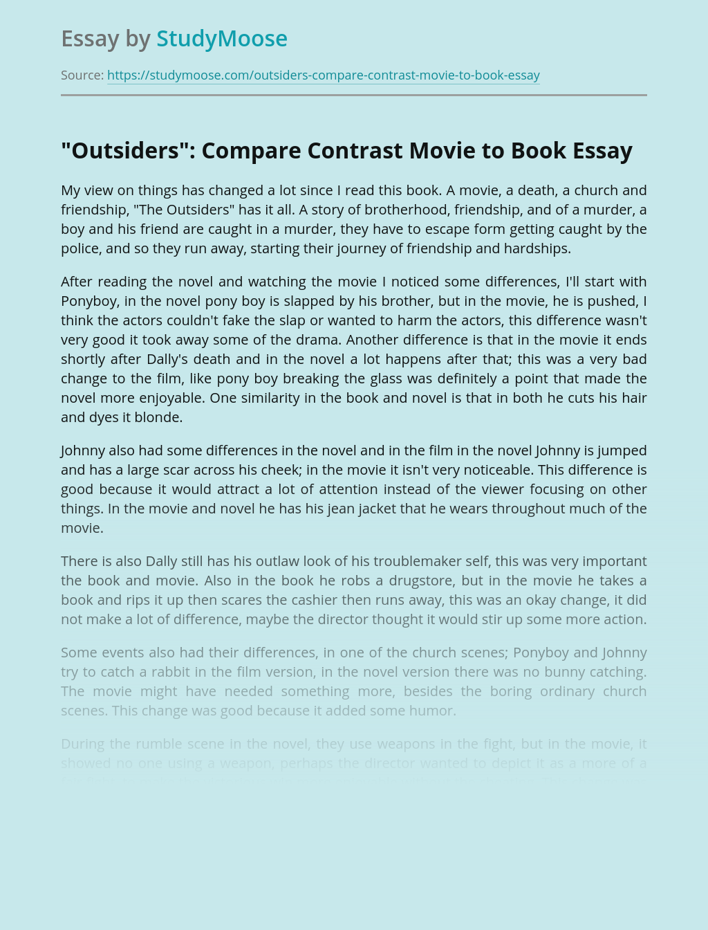 """""""Outsiders"""": Compare Contrast Movie to Book"""
