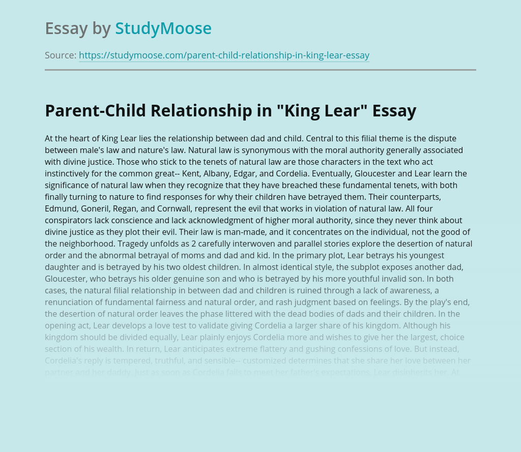 """Parent-Child Relationship in """"King Lear"""""""