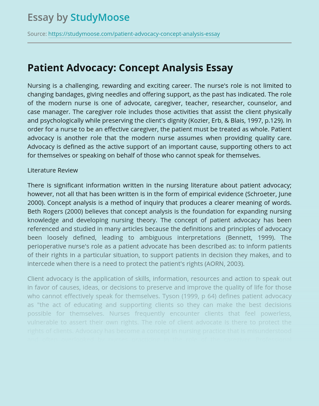 Concept Analysis of Patient Advocacy in Nursing