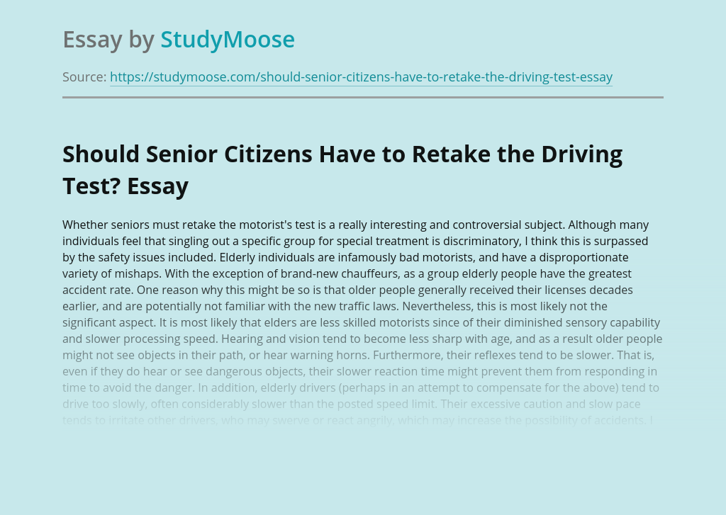 Should Senior Citizens Have to Retake the Driving Test?
