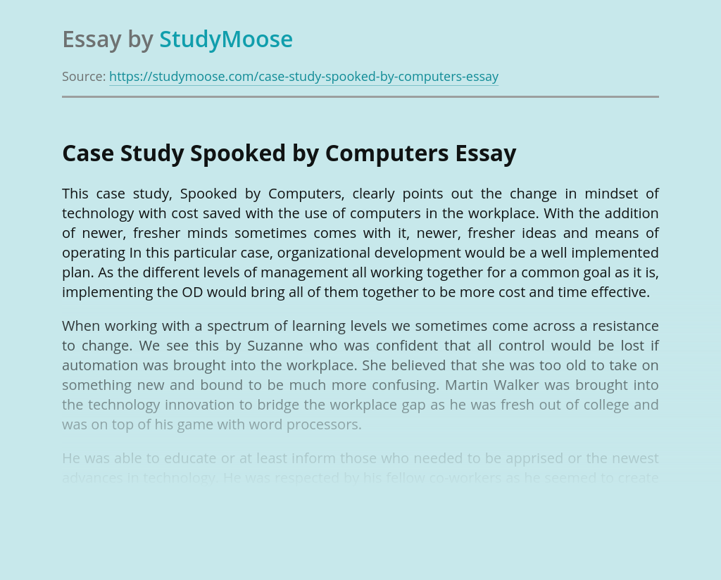 Case Study Spooked by Computers