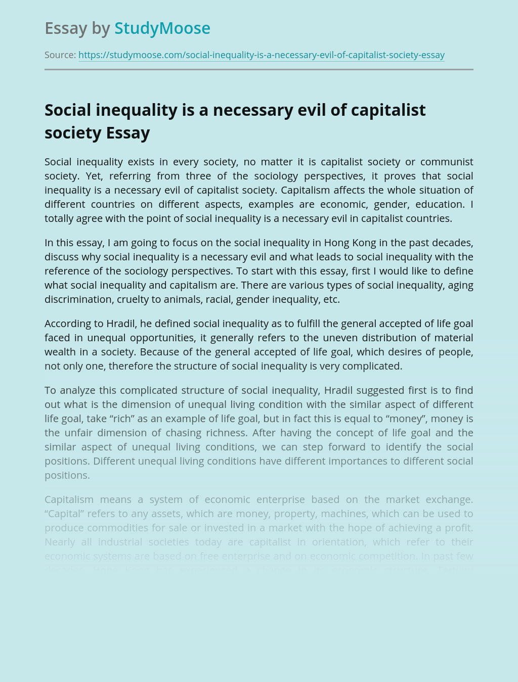 Social inequality is a necessary evil of capitalist society