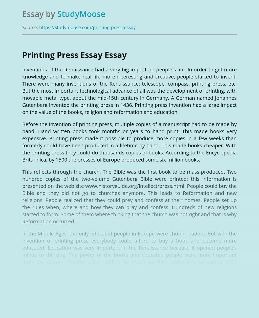 Printing Press Essay