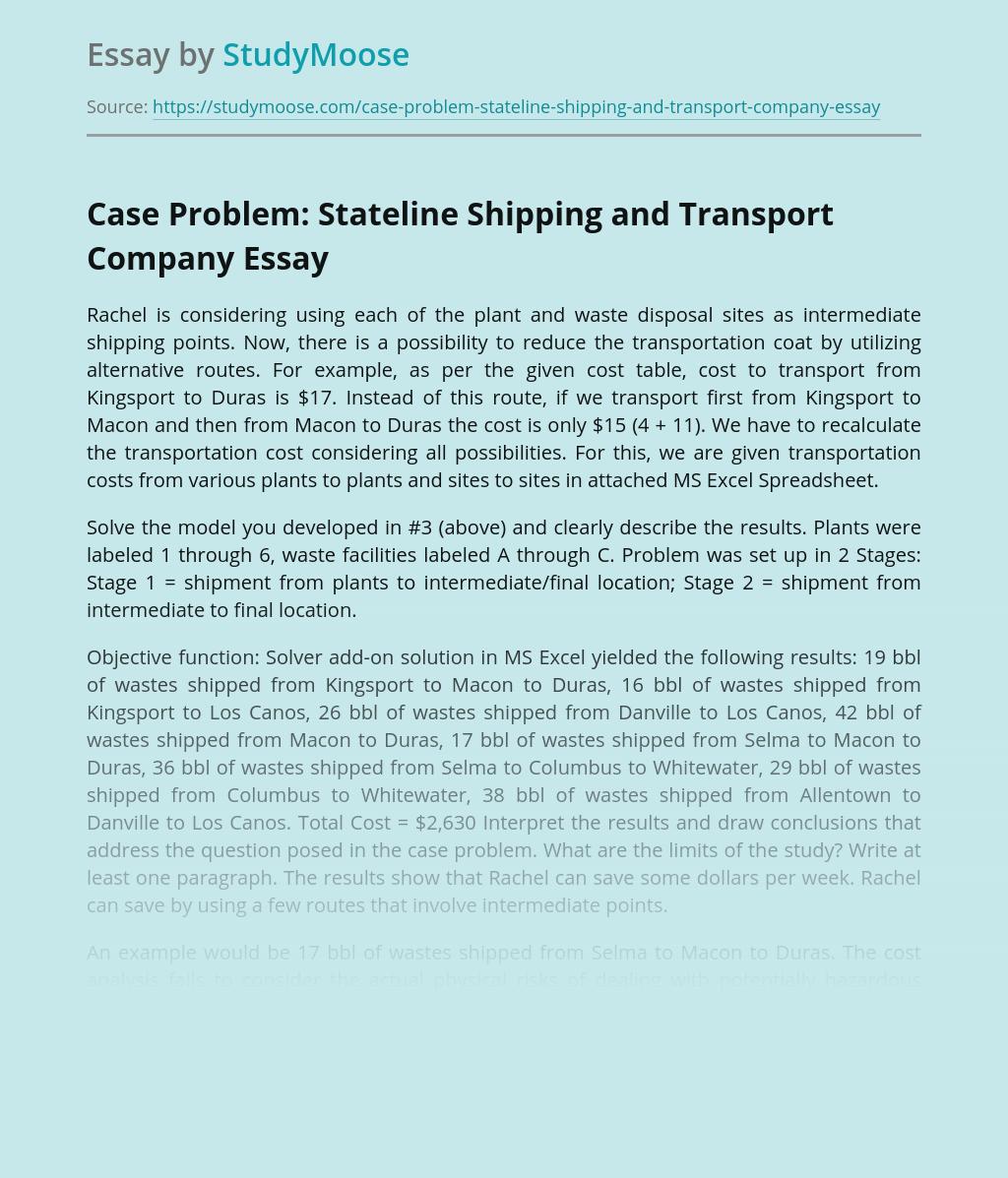 Case Problem: Stateline Shipping and Transport Company