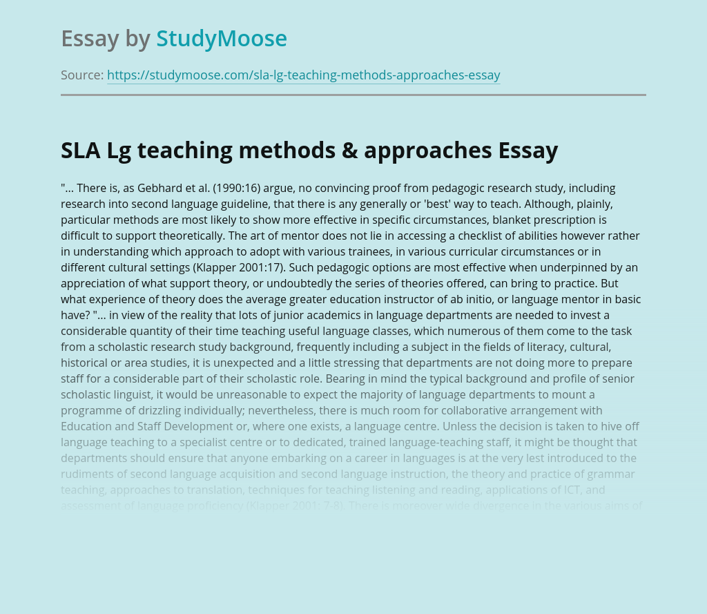 SLA Lg teaching methods & approaches