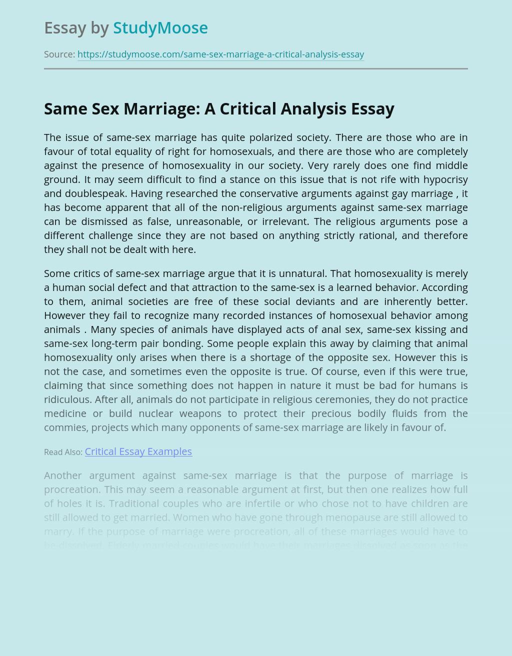 Same Sex Marriage: A Critical Analysis