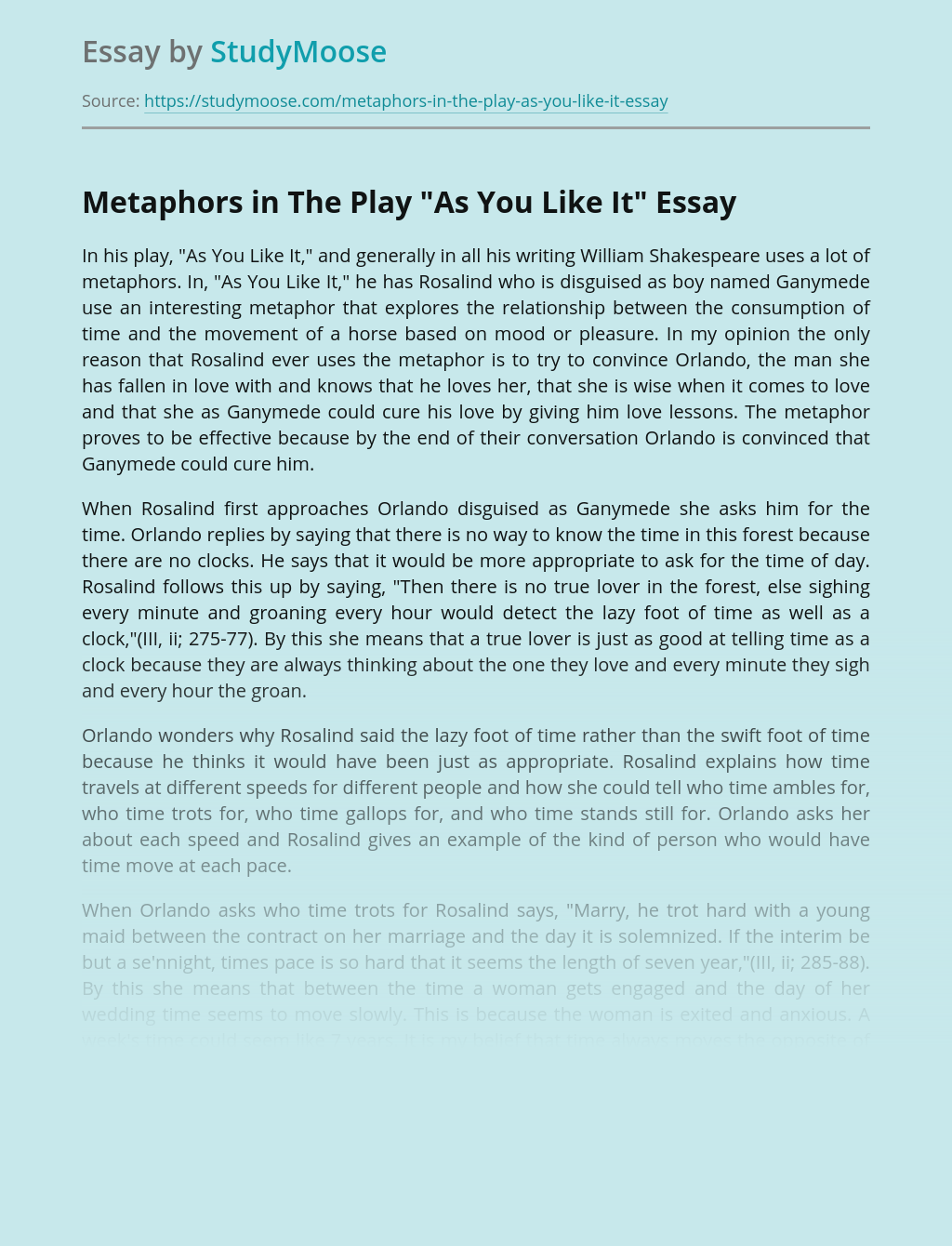 """Metaphors in The Play """"As You Like It"""""""