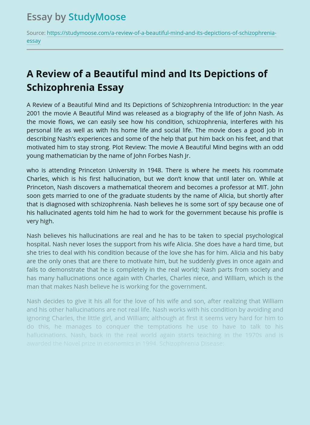 A Review of a Beautiful mind and Its Depictions of Schizophrenia