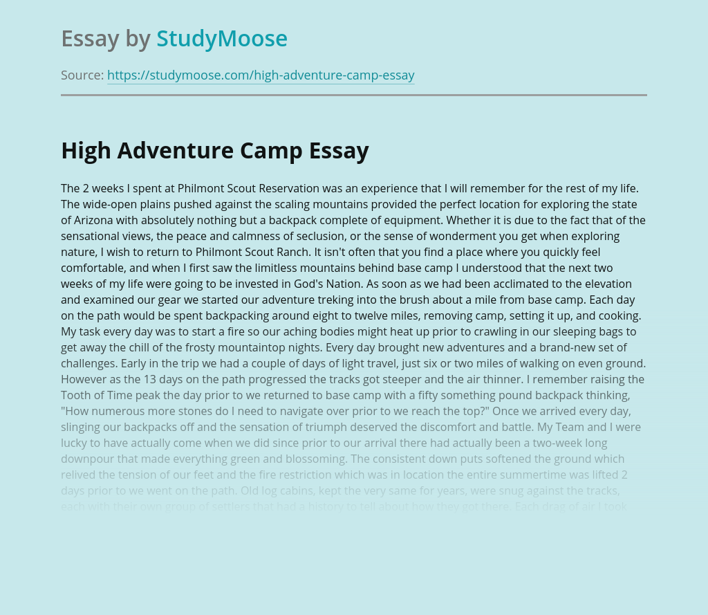 High Adventure Camp
