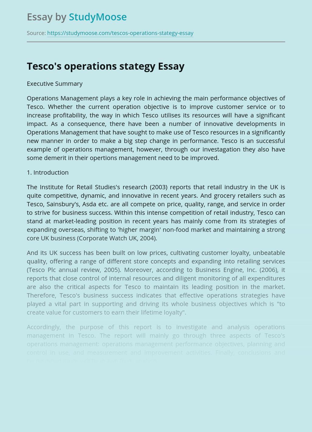 Tesco's operations stategy