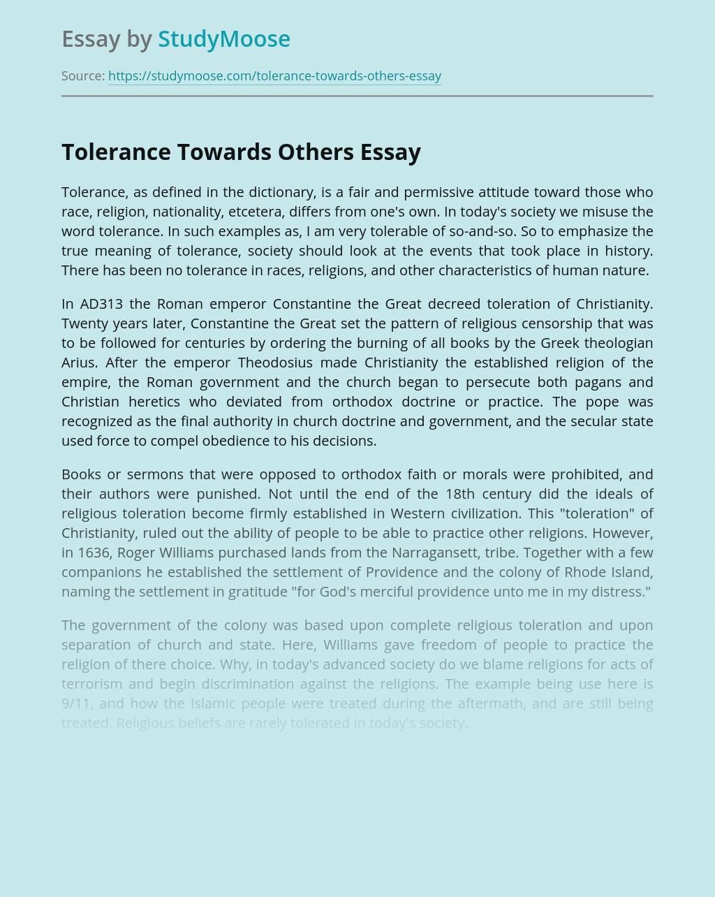 Tolerance Towards Others