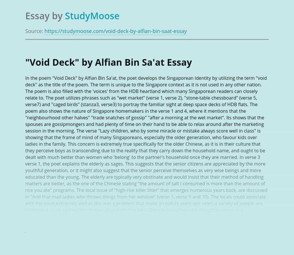 A poem Void Deck by Alfian Bin Sa'at