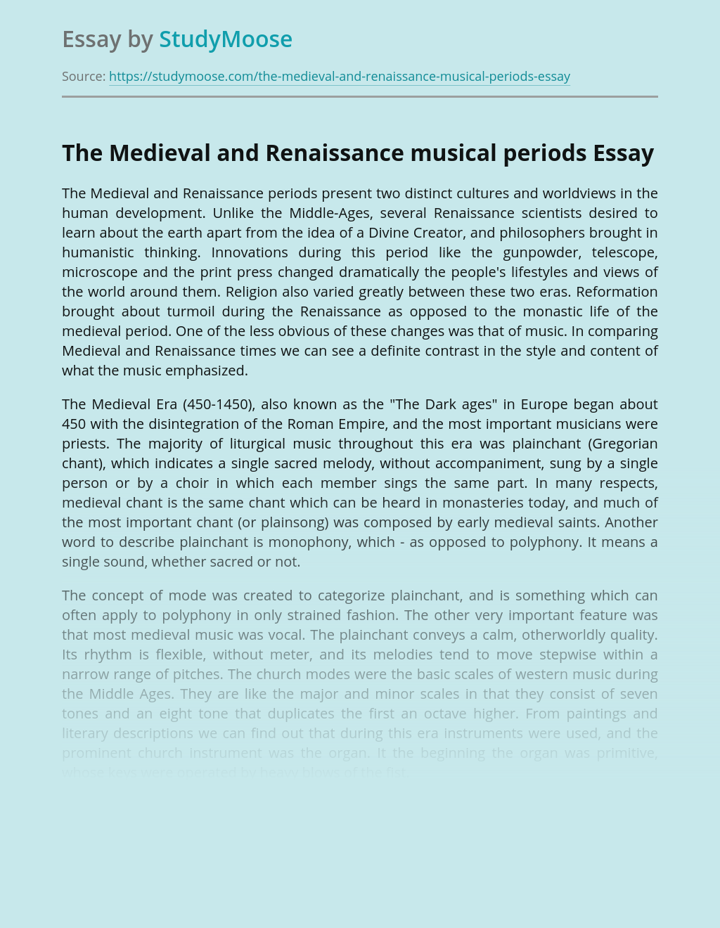 The Medieval and Renaissance musical periods