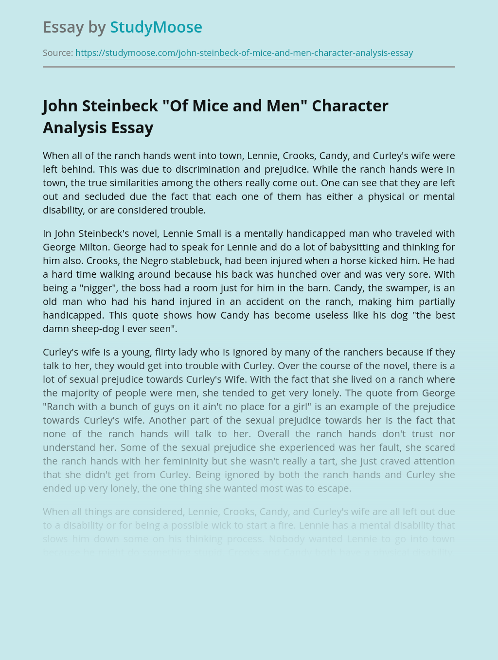 """John Steinbeck """"Of Mice and Men"""" Character Analysis"""
