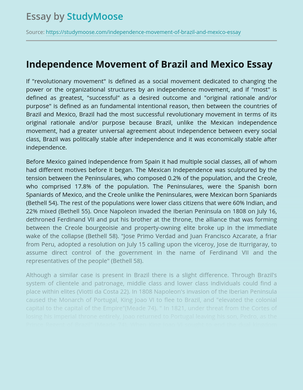 Independence Movement of Brazil and Mexico